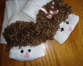 Girl and Boy Sock Puppets moveable mouth curly brown for the girl and straight for the boy