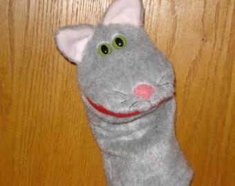 New for 2016 Grey gray  Cat Kitten Feline Hand Puppet faux fur fabric