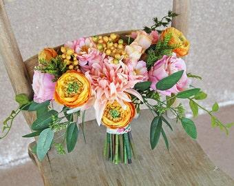 Pinks and Oranges Organic-Style Boho Silk Flower Wedding Bouquet