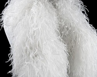 Ostrich Boas, 2 Yards - 12 Ply WHITE Ostrich Feather Boa : 4029