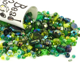 Evergreen Bead Mix - A Soup of Japanese Seed Beads and Czech Pressed Glass Beads