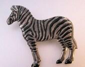 HALLOWEEN SALE Vintage Zebra Pin Brooch Enamel Silver Tone Costume Jewelry Jewellery