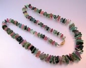 "Vintage 14k Tourmaline Graduated Necklace 26"" Uncut Knotted Jewelry Jewellery"