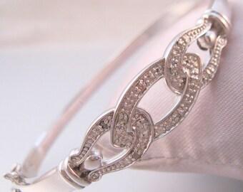 Vintage Designer Diamond Buckle Bangle Bracelet Hinged Platinum Plated Jewelry Jewellery