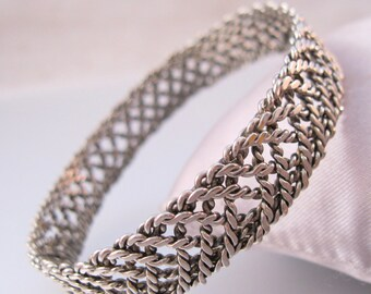 Silver Woven Braided Wire Bangle Bracelet Vintage Jewelry Jewellery