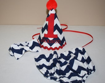 navy blue and red baby boys first birthday outfit, boys 1st birthday outfit, cake smash set, 1st birthday hat, boys birthday outfit