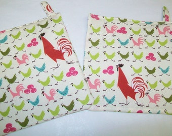 2 Handmade Potholders, Alexander Henry rooster fabric, kitchen