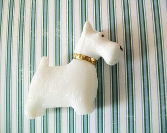 White Glass Scottie Dog, Avon, Queen of Scots, 1980s, cologne bottle