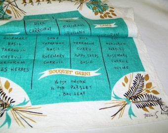 Tammis Keefe Vintage Linen Towel, 1950s, midcentury modern, turquoise