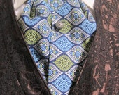 Blue Silver Patterned Ascot