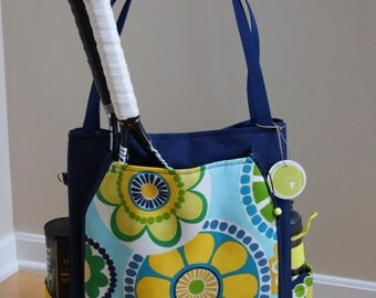 Large Tennis Bag and accessory Bag Made from water proof vinyl canvas.