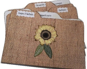 Recipe Tab Dividers MADE TO ORDER , Coordinates with Burlap-Lace Sunflower Recipe Box, 4 x 6 4 by 6 (Set of 6) Kitchen Organization