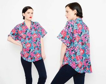 Colorful 80s Floral Print Shirt Tropical Vacation Short Sleeve 1980s Button Up Blouse Small Medium S M
