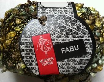 Muench Fabu Boucle Ribbon Yarn - #4312 Greens, Olive, Yellow-Green 50 gram 79 yards