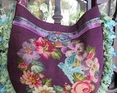 Vintage Needlepoint Roses and Velvet Chenille, Loop Ribbon, Boho, Bird Handbag