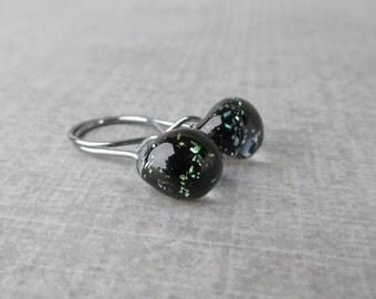 Black Sparkle Dangle Earrings, Small Dangles, Black Earrings Small, Lampwork Earrings Black, Dark Silver Wire Earrings, Sterling Silver