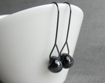 Modern Raven Black Earrings, Black Lampwork Earrings, Minimalist Dangle Earrings, Long Black Dangles, Oxidized Sterling Silver Wire Earrings