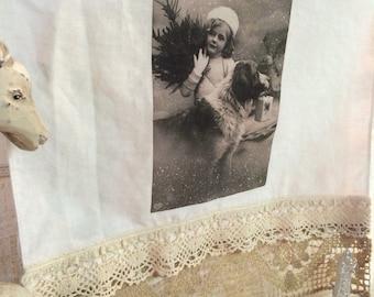Jeanne d'Arc style Vintage postcard girl & st. Bernard vintage lace crochet linen tea towel Holiday Entertaining Gifts