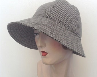 Sample sale. Petra fabric Cloche hat. Gatsby hat, sun hat, travel hat, downtown.