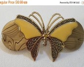 """Upcycled Hair Barrette, Gold & Yellow, Butterfly, 3"""" French Clip, Vintage Jewelry, French Barrette, Hair Accessories, Hair Clips"""