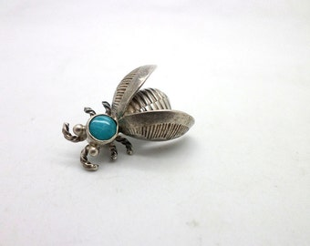 Vintage Silver and Turquoise Native American Style Fly Insect Pin Brooch