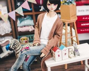 SD13 Girl Natural Deep Slit Long Cardigan - Brown