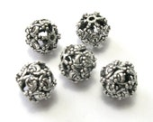 Antique Silver Filigree Floral Beads (10mm) - Metal Beads