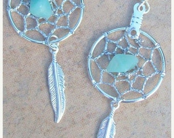 ON SALE DREAM Catcher Earrings with Amazonite