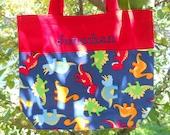 Embroidered tote bag, toy bag, personalized tote bag, kids tote bag, Dance bag, ballet bagDinosaur Canvas Tote bag (large) LBTB7- RB