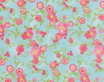 Floral Flourish in Sky COLETTE by Chez Moi ... Blue colorway ...choose your cut Moda 33051  12