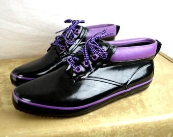 Vintage 1980s Black Purple Sporto Ankle Duck Boots - Women's Size 9