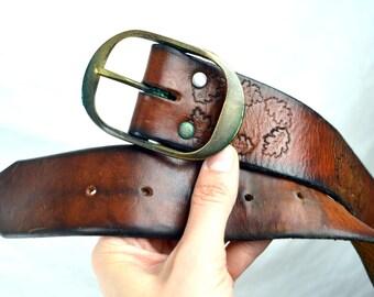 Vintage Tooled Leather Leaf Belt