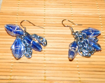 Blue Glass Beaded Dangle With Silver Foil Swirl