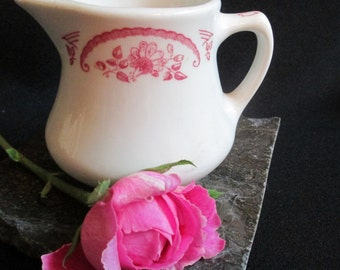 Homer Laughlin Restaurant Ware Cream Pitcher with Pink Floral Border