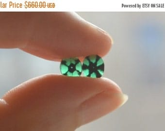 SALE Colombian Trapiche Emerald Slice Matched Pair 6.5 x 5.5mm