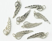 Sterling Silver Angel Wing Pendant / Delicate Angel Wing Charm / 26 mm