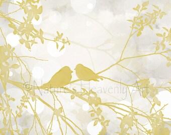 16 x 20 Pale Yellow Wall Decor Romantic Print, Love Bird Print, Bird Wall Art Yellow and Gray Decor, Tree Branch Art Print  (30)