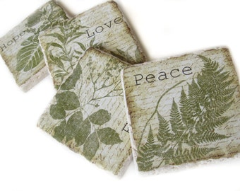 Set of 4 Tile Coasters, Drink Coasters for Housewarming Gift, Faith Hope and Love Coasters, Table Coasters, Green Decor, Nature Coaster Set