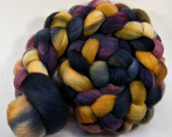 Plumgold 1 Bluefaced Leicester wool top for spinning and felting (4.1 ounces)