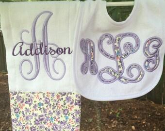 Personalized Bib & Burpcloth set
