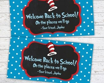 Back to School Bag Toppers - Chalkboard - Dr Seuss Inspired - Printable Tags - Printable Treat Bag Topper Tag Tent Style PRINTABLE