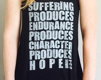 Faith Inspired Workout Tank Top - Suffering Produces Endurance