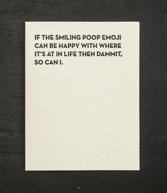 poop emoji. letterpress card. #912