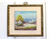 Vintage Landscape Miniature Oil Painting / Mountain Landscape in gold painted wooden frame / Country scene blue golden frame 6 x 6.5 in