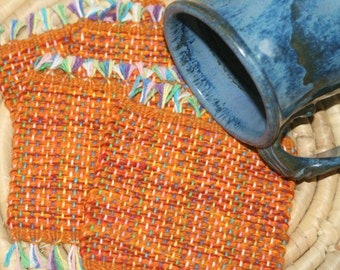 Orange Coasters - Halloween Mug Rug - Set of 4 Eco Friendly Mug Rugs in Orange - Handwoven Coasters