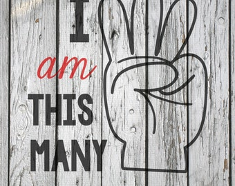 SVG, PNG, Studio3 Cut File, I am This Many Three, Silhouette Cut File, Cricut Cut File, Birthday