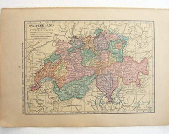 Switzerland vintage paper map . Original  1923 in pastel colors for the different cantons.  Frame for wall, paper ephemera.
