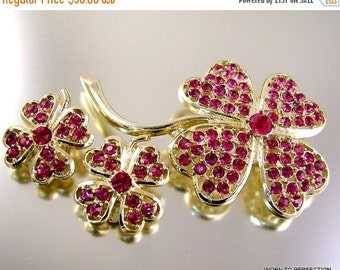 30% Off Sale Sarah Coventry Pink Ice Rhinestone Brooch and Earring Set