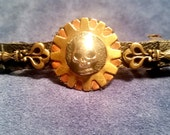 Steampunk Hair Fashion Barrett with Metal Skull on Gear Head with Key accents Copper on Gold