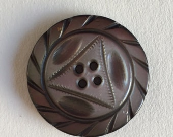 Vintage Carved 4 hole sew thru Shell Button - 1